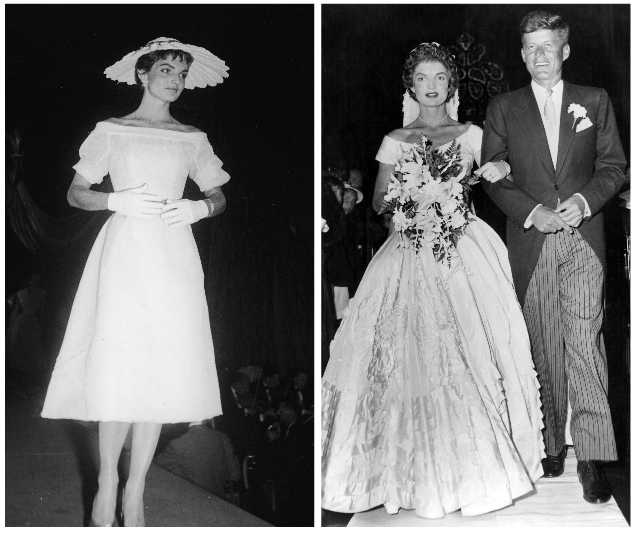 A brief history of jackie os signature style grazia from l r jacqueline kennedy then jacqueline bouvier at a society ball in new york in the early 50s on her wedding day in 1953 to jfk junglespirit Choice Image