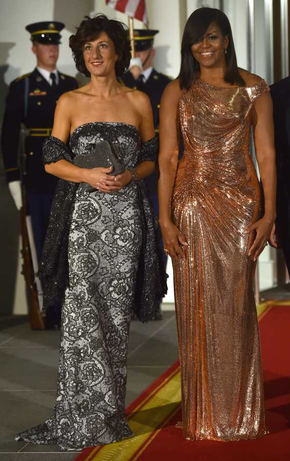 michelle obama gold versace dress