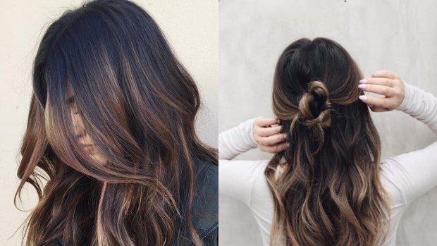 Balayage technique with root colour