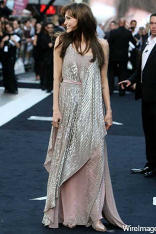 Angelina Jolie amanda wakely style 2010 layered pink silver dress