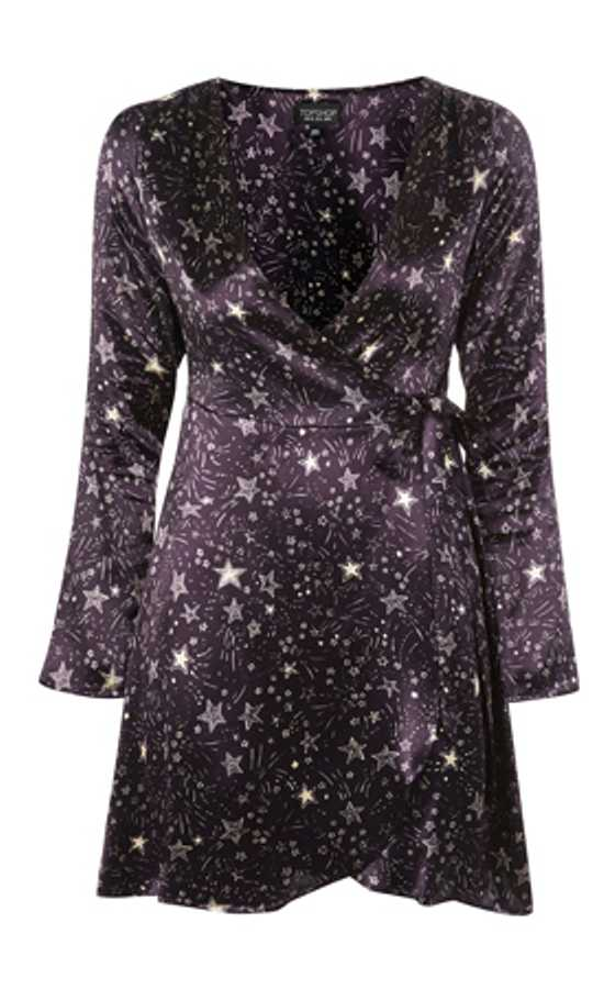 topshop star print wrap dress