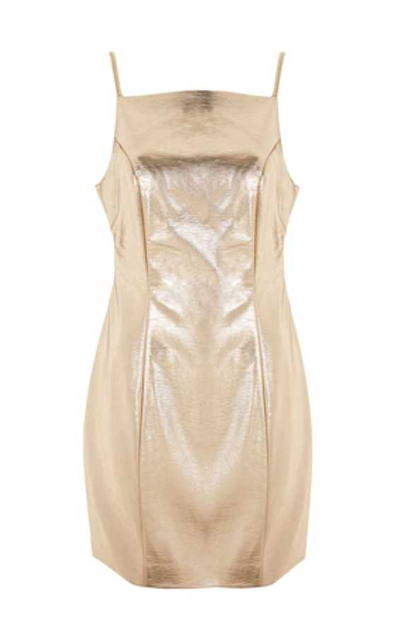gold vinyl pinafore dress