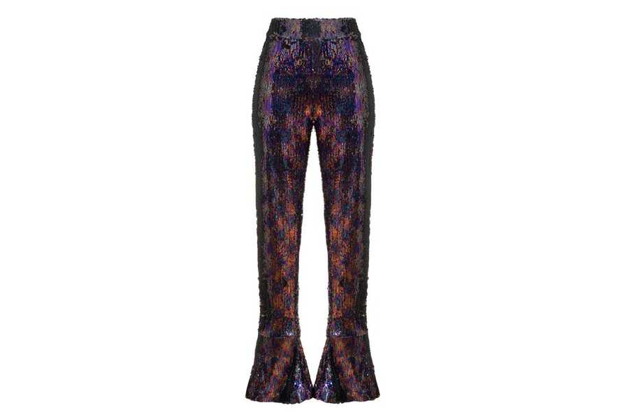 Sequin mid rise slim leg flared trousers