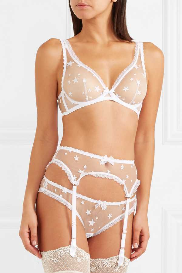 How to choose the prettiest bridal underwear for your wedding day agent provocateur luxx lace trimmed embroidered tulle underwired bra 75 suspender belt 65 and briefs 55 net a porter junglespirit Choice Image