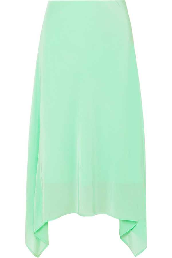 what to wear to work green silk skirt