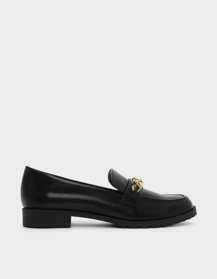 Charles & Keith, Chain Detail Loafers,