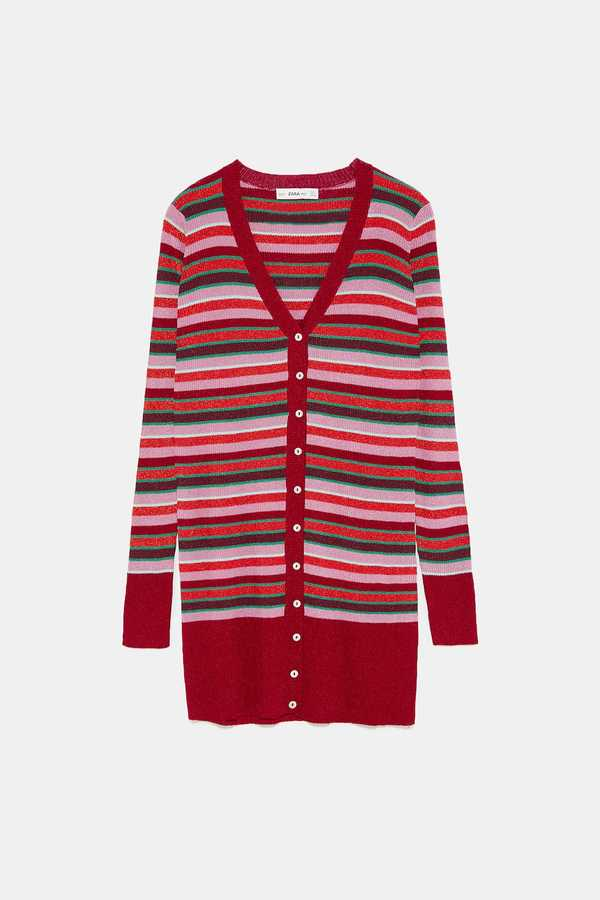 Zara, Striped Shimmer Thread Cardigan, £49.99