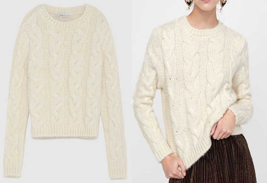 Tuesday - Zara, Cable-Knit Sweater, £39.99